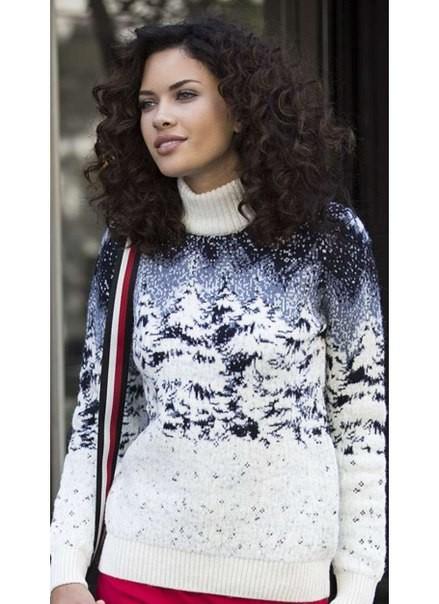 Москва Pulltonic женский свитер зимний лес в снегу природа Турция WW130522, размер S M L джемпер пуловер Свитер с волком Пуллтоник свитера с животными оптом в Шерсть ягненка