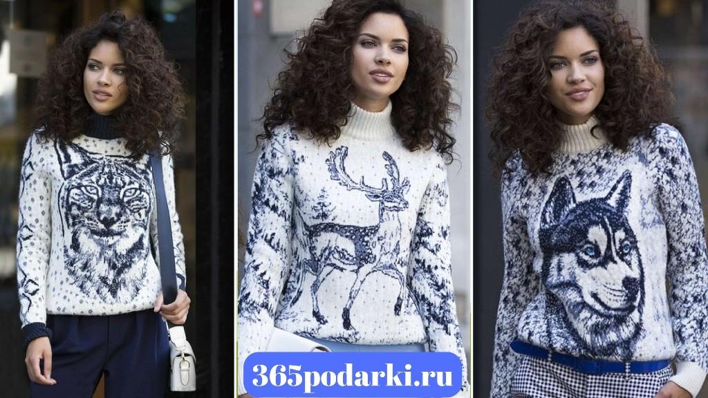 Pulltonic женский свитер с оленем рысью и волком
